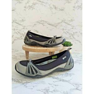 Ahnu Slip On Ballet Flat Shoes Gray Black Blue 7
